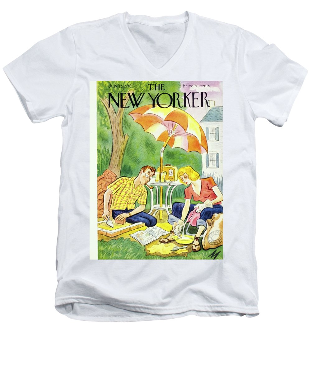 Illustration Men's V-Neck T-Shirt featuring the painting New Yorker July 12th 1947 by Julian De Miskey