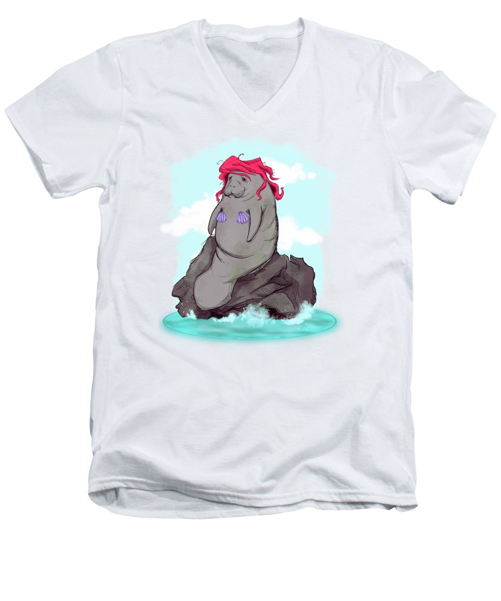 Mermaid Men's V-Neck T-Shirt featuring the drawing The Little Manatee by Ludwig Van Bacon