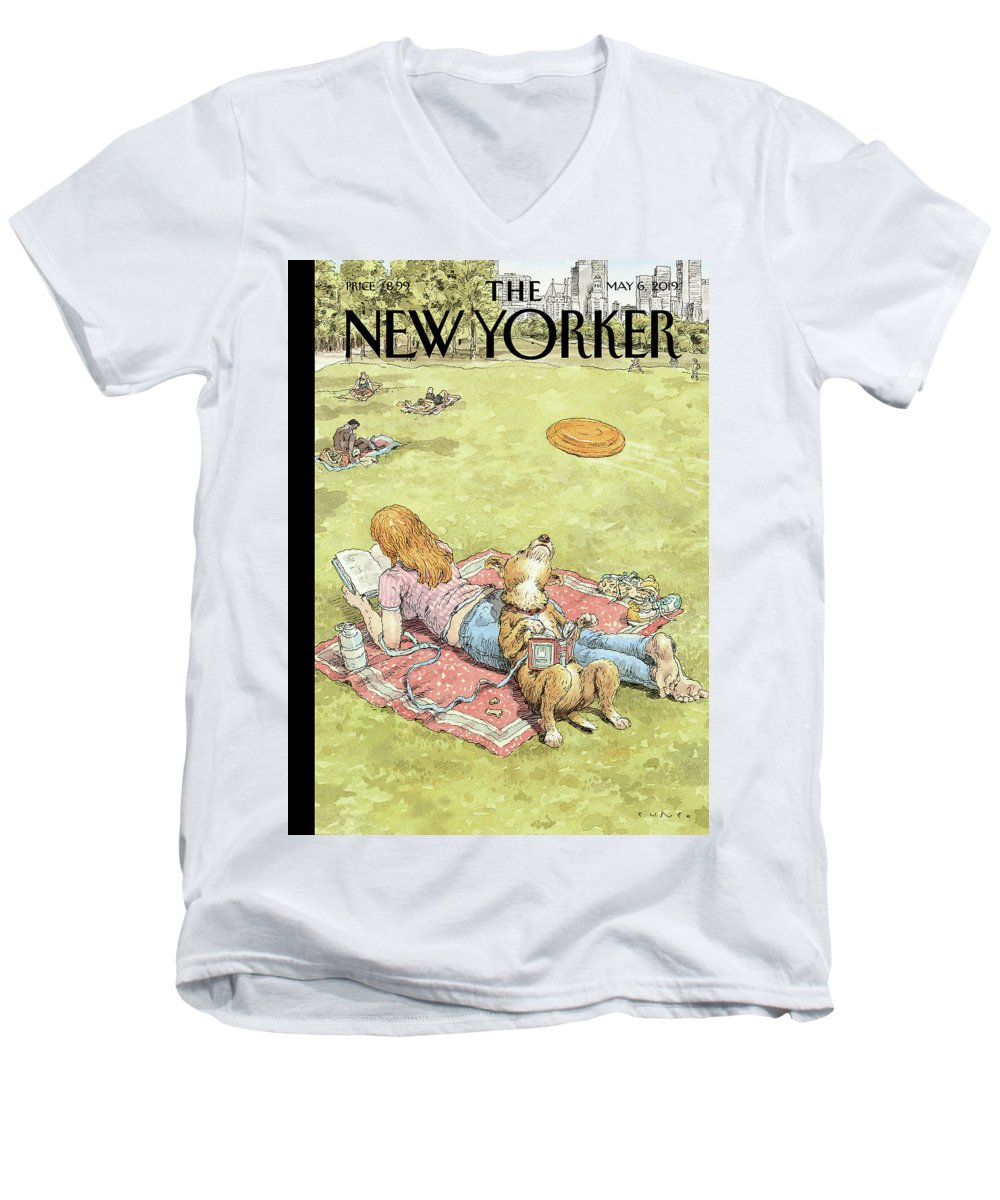 To Fetch Or Not To Fetch Men's V-Neck T-Shirt featuring the painting To Fetch or Not to Fetch by John Cuneo