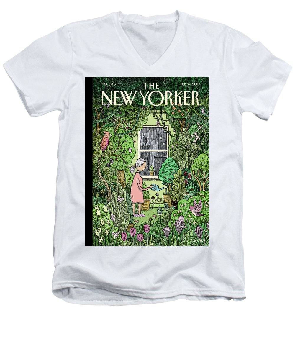 Winter Garden Men's V-Neck T-Shirt featuring the painting Winter Garden by Tom Gauld