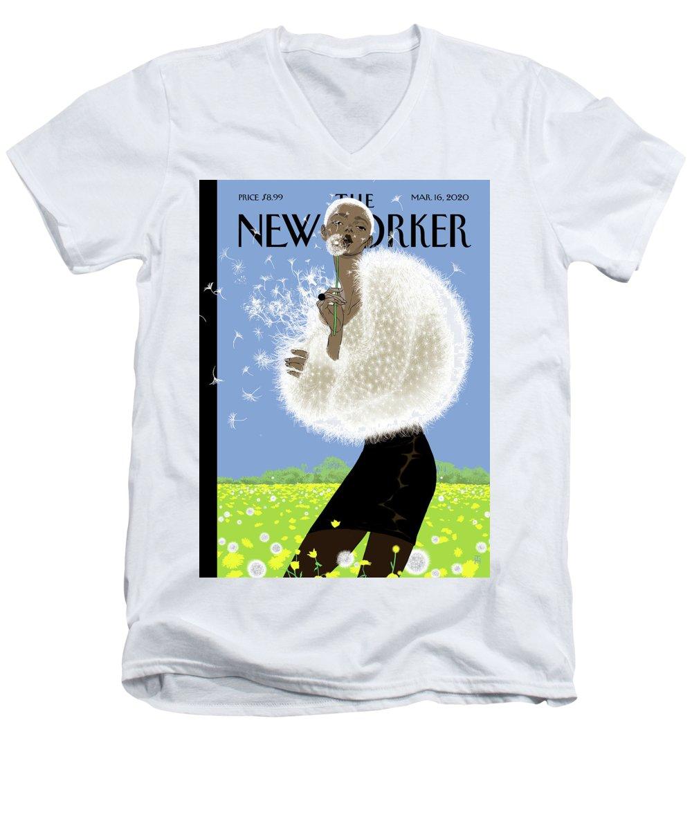 Blown Away Men's V-Neck T-Shirt featuring the digital art Blown Away by Tomer Hanuka