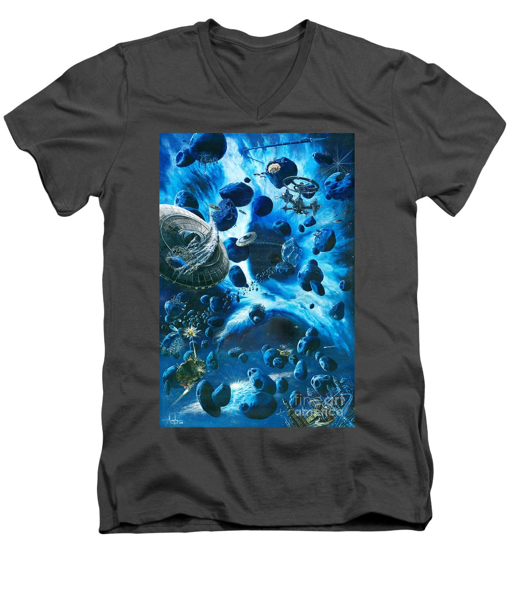 Asteroid Men's V-Neck T-Shirt featuring the painting Alien Pirates by Murphy Elliott