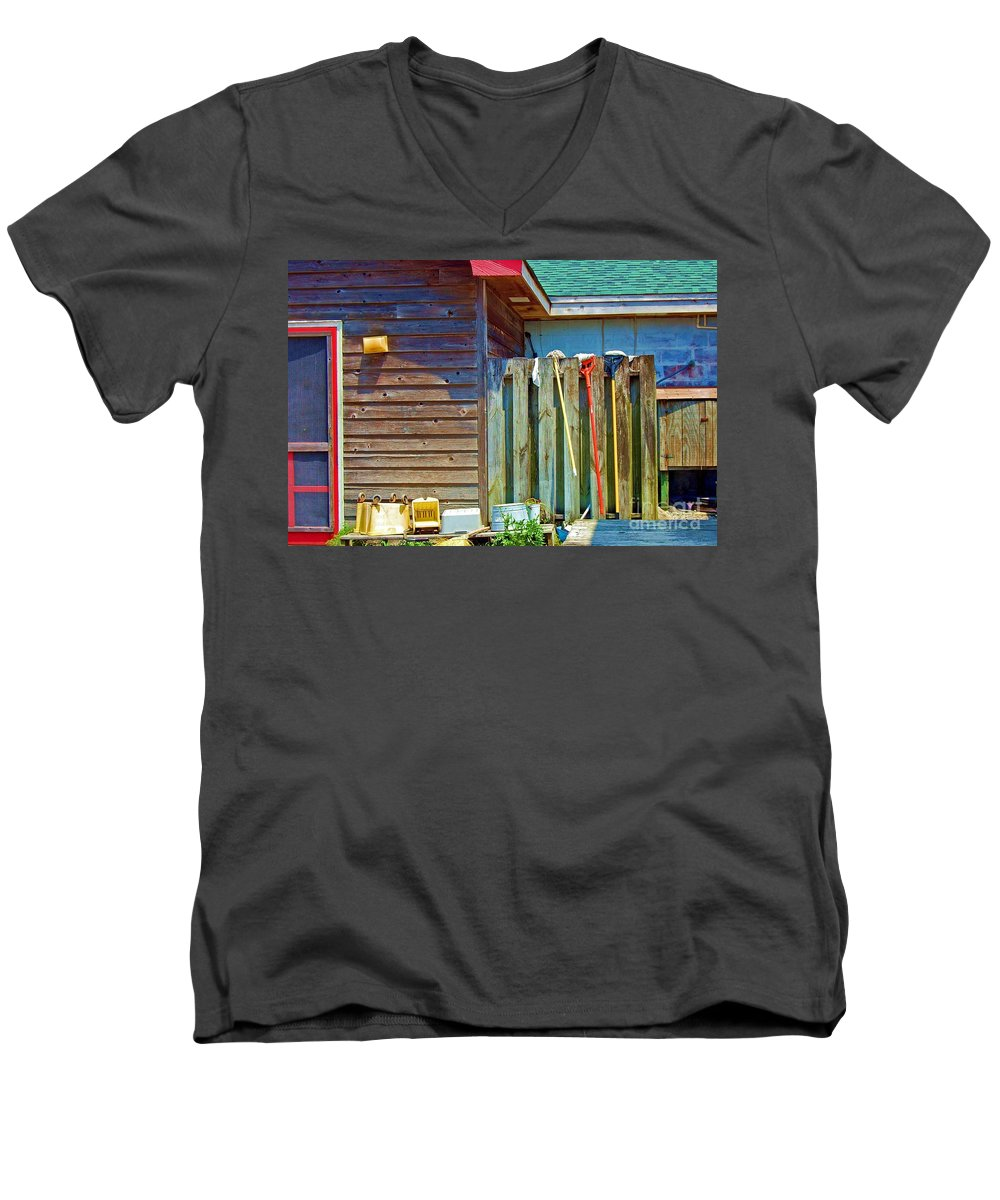 Building Men's V-Neck T-Shirt featuring the photograph Out To Dry by Debbi Granruth