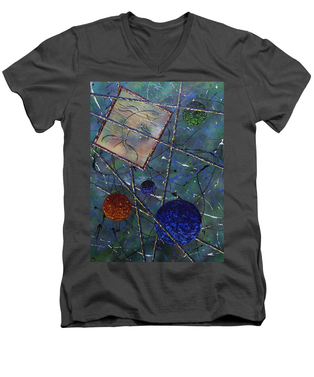 Fish Men's V-Neck T-Shirt featuring the painting Pisces by Micah Guenther