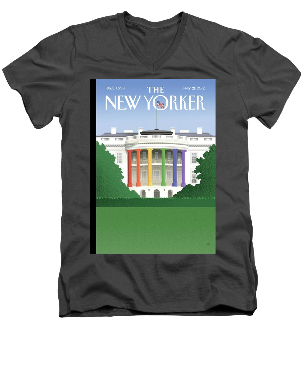 President Men's V-Neck T-Shirt featuring the painting Spectrum Of Light by Bob Staake