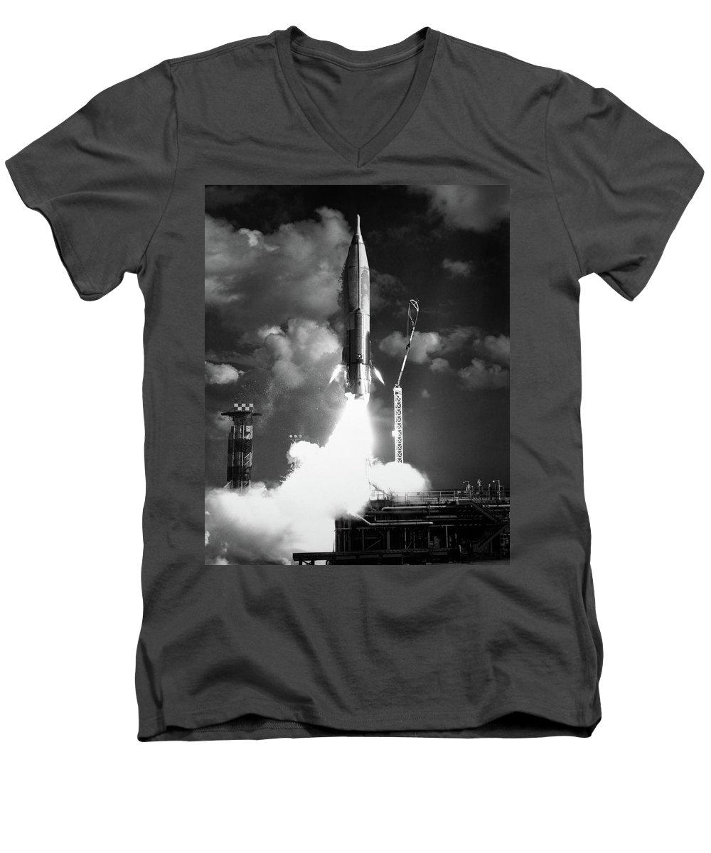 ba439ed3d7 1960s Atlas Icbm Launch Men's V-Neck T-Shirt