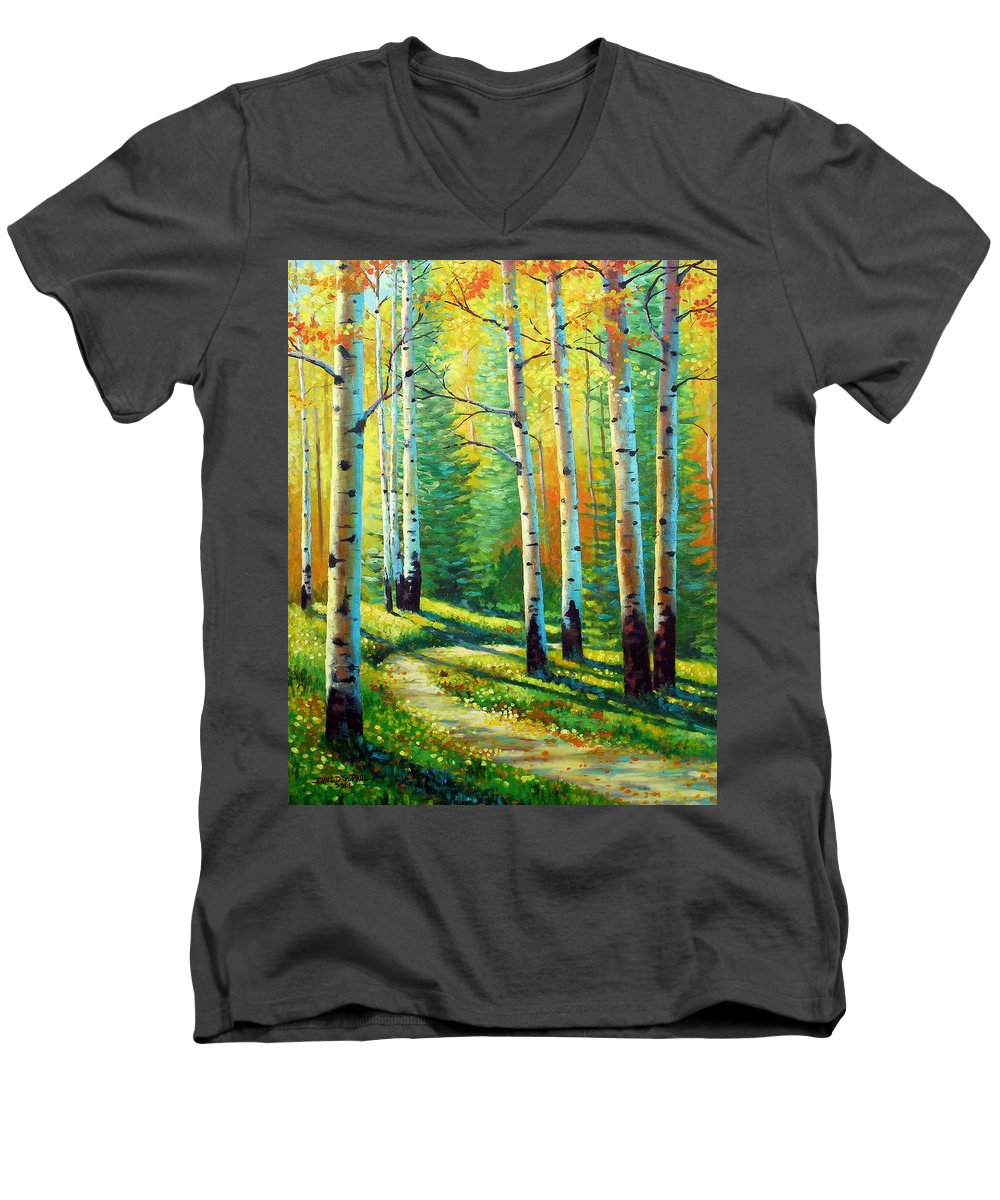 Landscape Men's V-Neck T-Shirt featuring the painting Colors Of The Season by David G Paul
