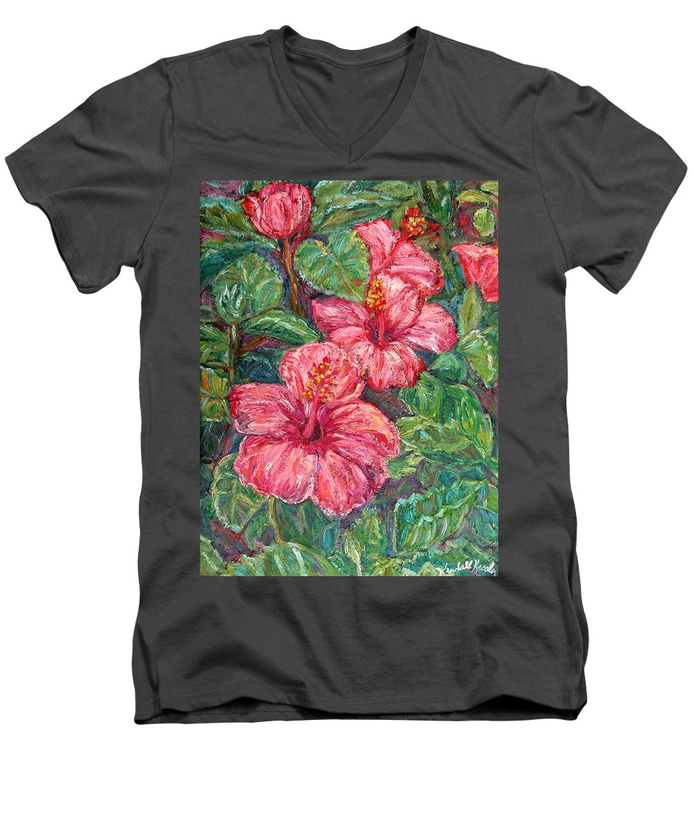 Hibiscus Men's V-Neck T-Shirt featuring the painting Hibiscus by Kendall Kessler