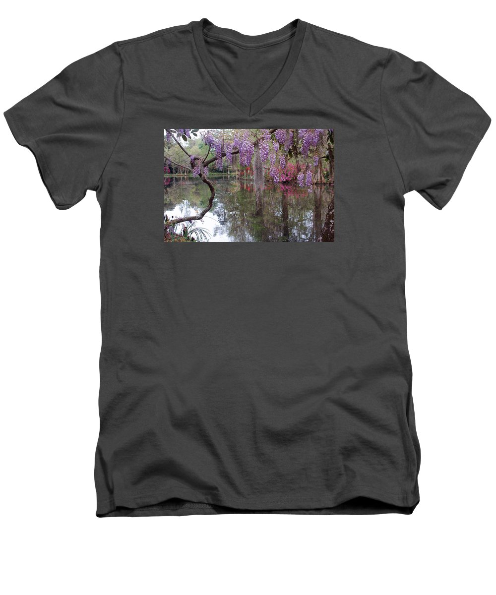 Wisteria Men's V-Neck T-Shirt featuring the photograph Magnolia Plantation Gardens Series II by Suzanne Gaff