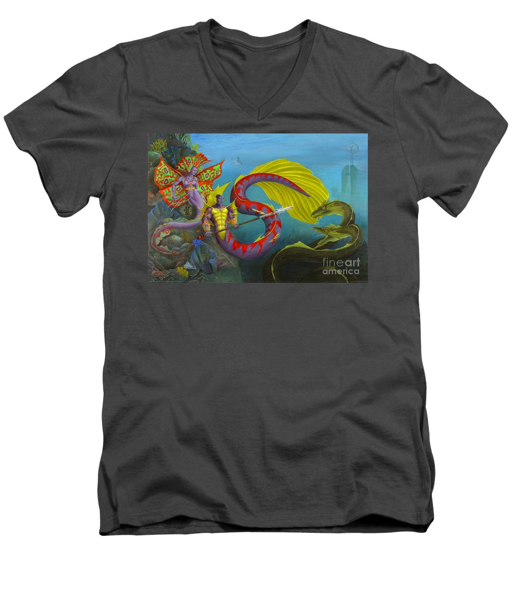 Mermaid Men's V-Neck T-Shirt featuring the painting The Threat by Melissa A Benson