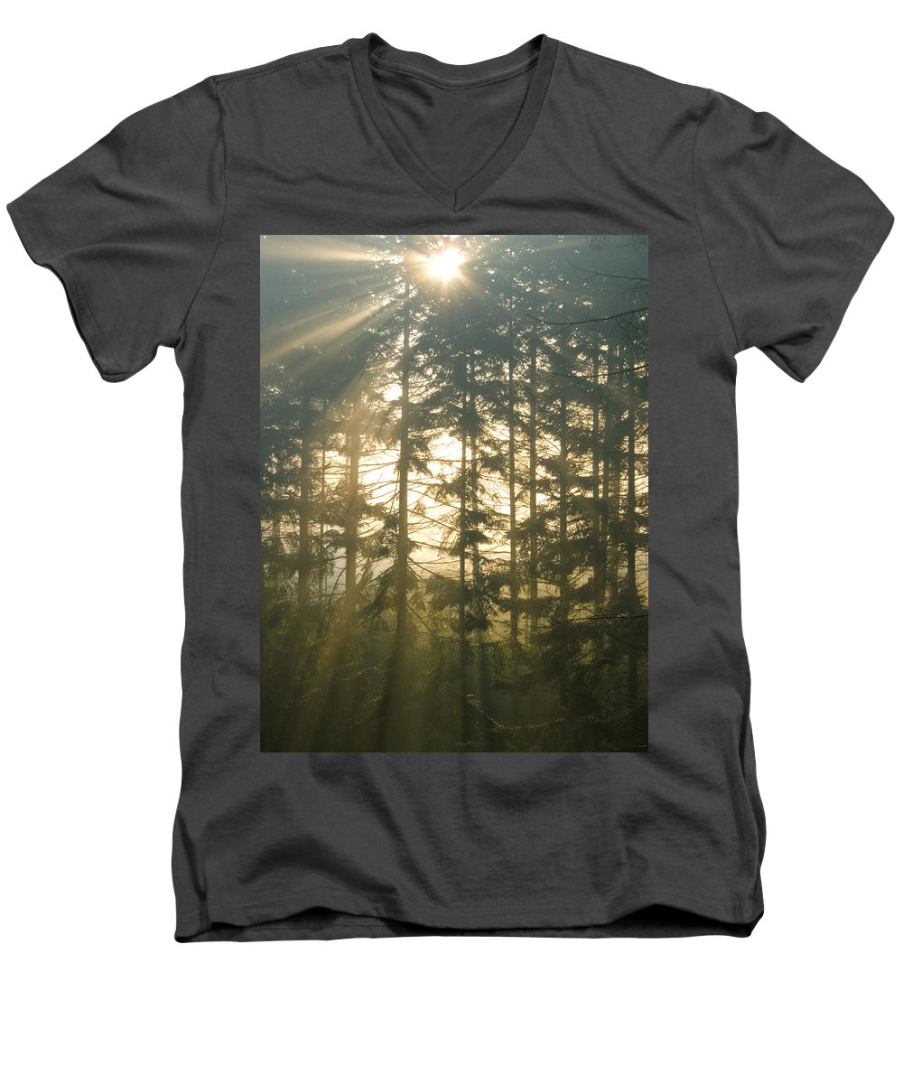 Nature Men's V-Neck T-Shirt featuring the photograph Light In The Forest by Daniel Csoka