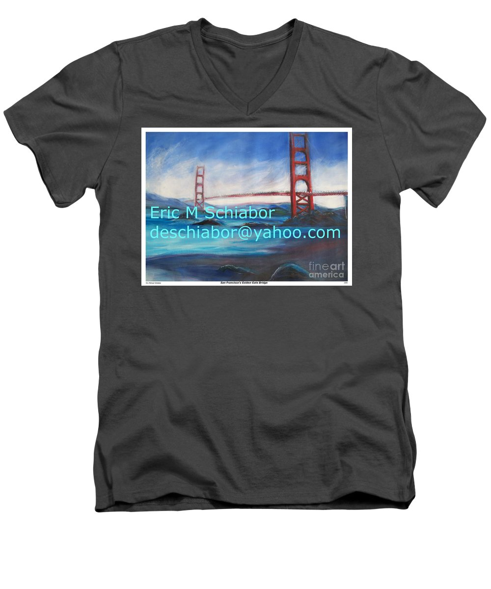 California Coast Men's V-Neck T-Shirt featuring the painting San Francisco Golden Gate Bridge by Eric Schiabor