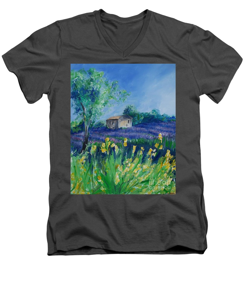 Provence Men's V-Neck T-Shirt featuring the painting Provence Lavender Field by Eric Schiabor