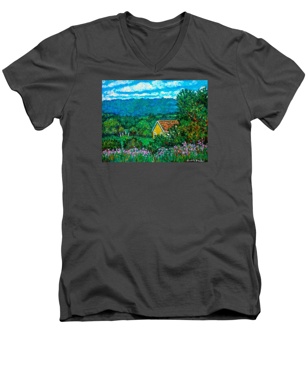 Landscape Men's V-Neck T-Shirt featuring the painting 460 by Kendall Kessler