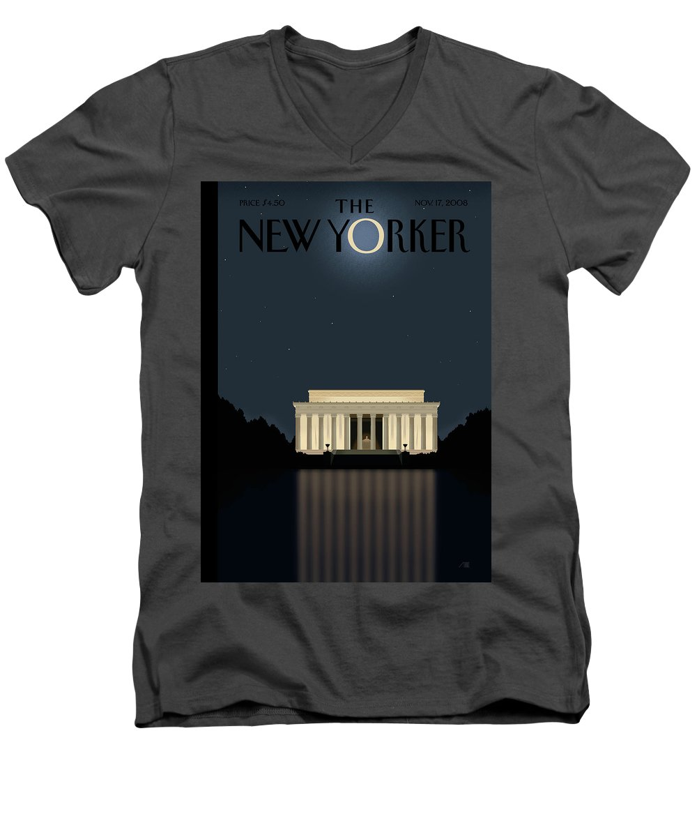 Lincoln Men's V-Neck T-Shirt featuring the painting New Yorker November 17th, 2008 by Bob Staake