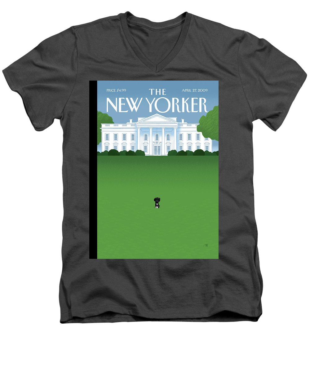 Obama Men's V-Neck T-Shirt featuring the painting New Yorker April 27th, 2009 by Bob Staake