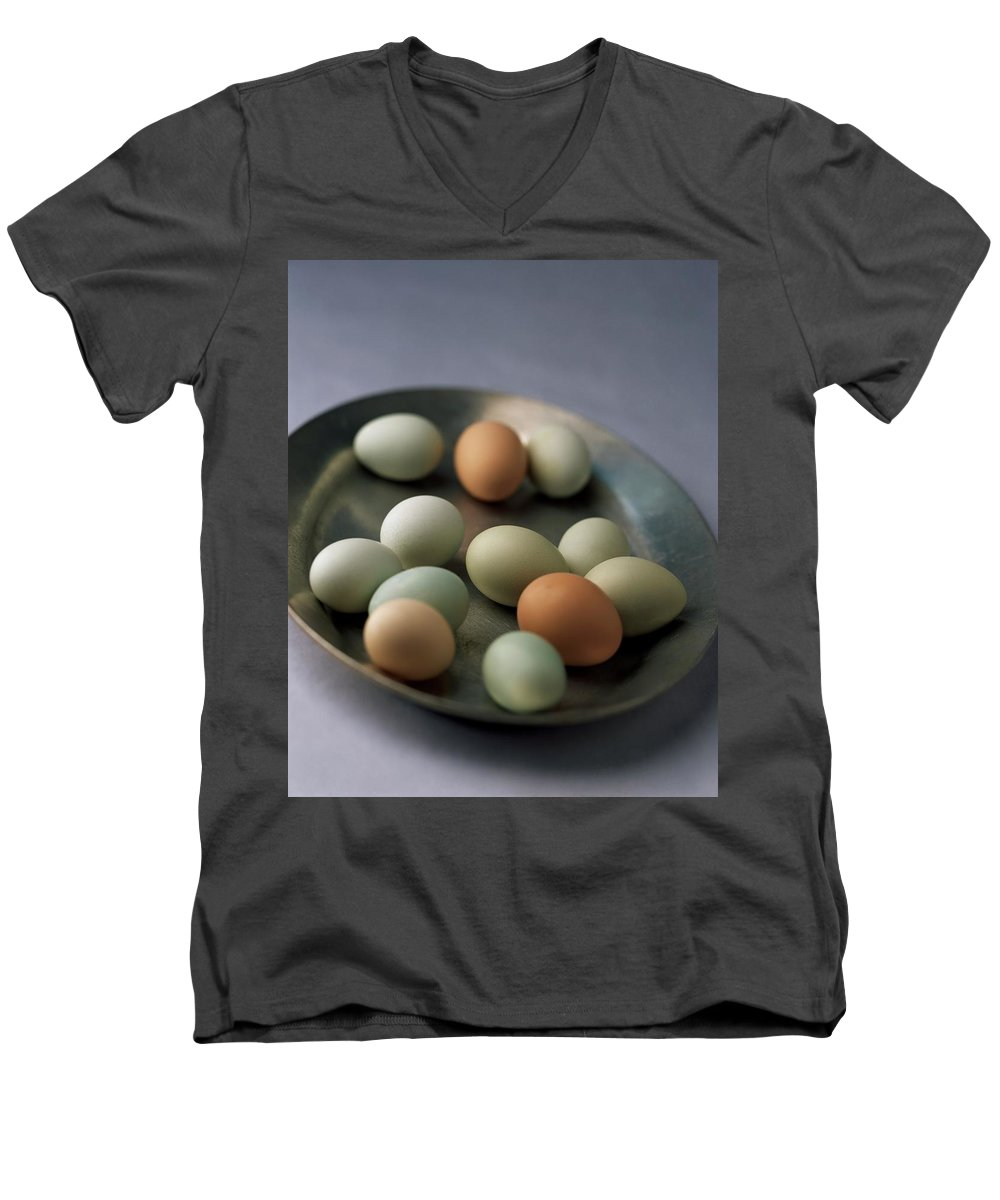 Cooking Men's V-Neck T-Shirt featuring the photograph A Bowl Of Eggs by Romulo Yanes