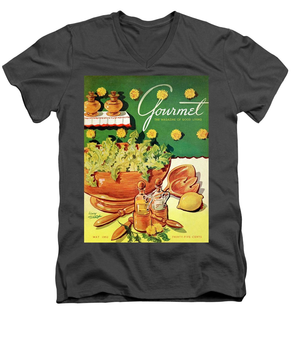 Food Men's V-Neck T-Shirt featuring the photograph A Gourmet Cover Of Dandelion Salad by Henry Stahlhut