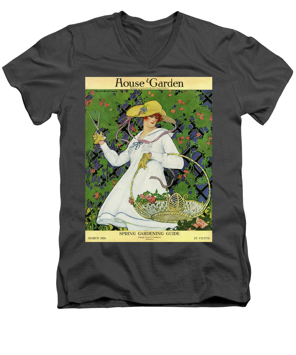Illustration Men's V-Neck T-Shirt featuring the photograph A House And Garden Cover Of A Woman Gardening by Ruth Easton