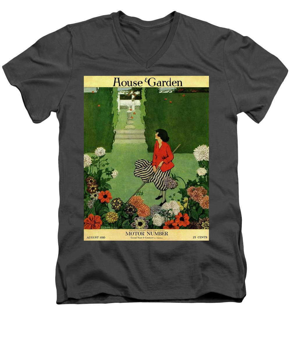 Illustration Men's V-Neck T-Shirt featuring the photograph A House And Garden Cover Of A Woman Raking Leaves by Ethel Franklin Betts Baines
