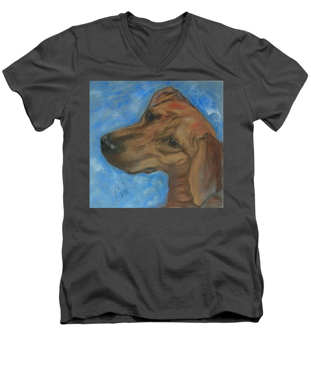 Pastel Men's V-Neck T-Shirt featuring the drawing A Twist Of Might by Cori Solomon