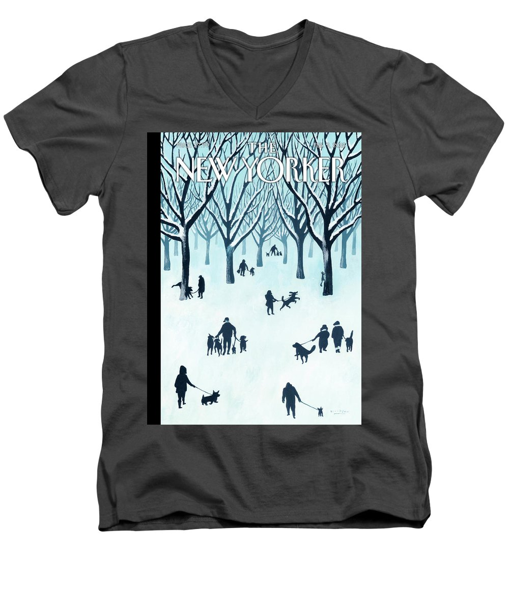 Snow Men's V-Neck T-Shirt featuring the painting A Walk In The Snow by Mark Ulriksen
