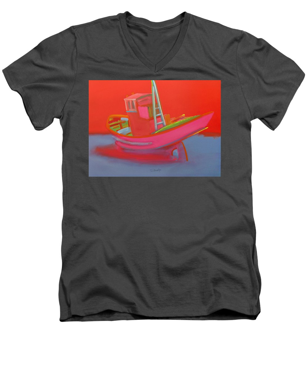 Fishing Men's V-Neck T-Shirt featuring the painting Abandoned Red Fishing Trawler by Charles Stuart