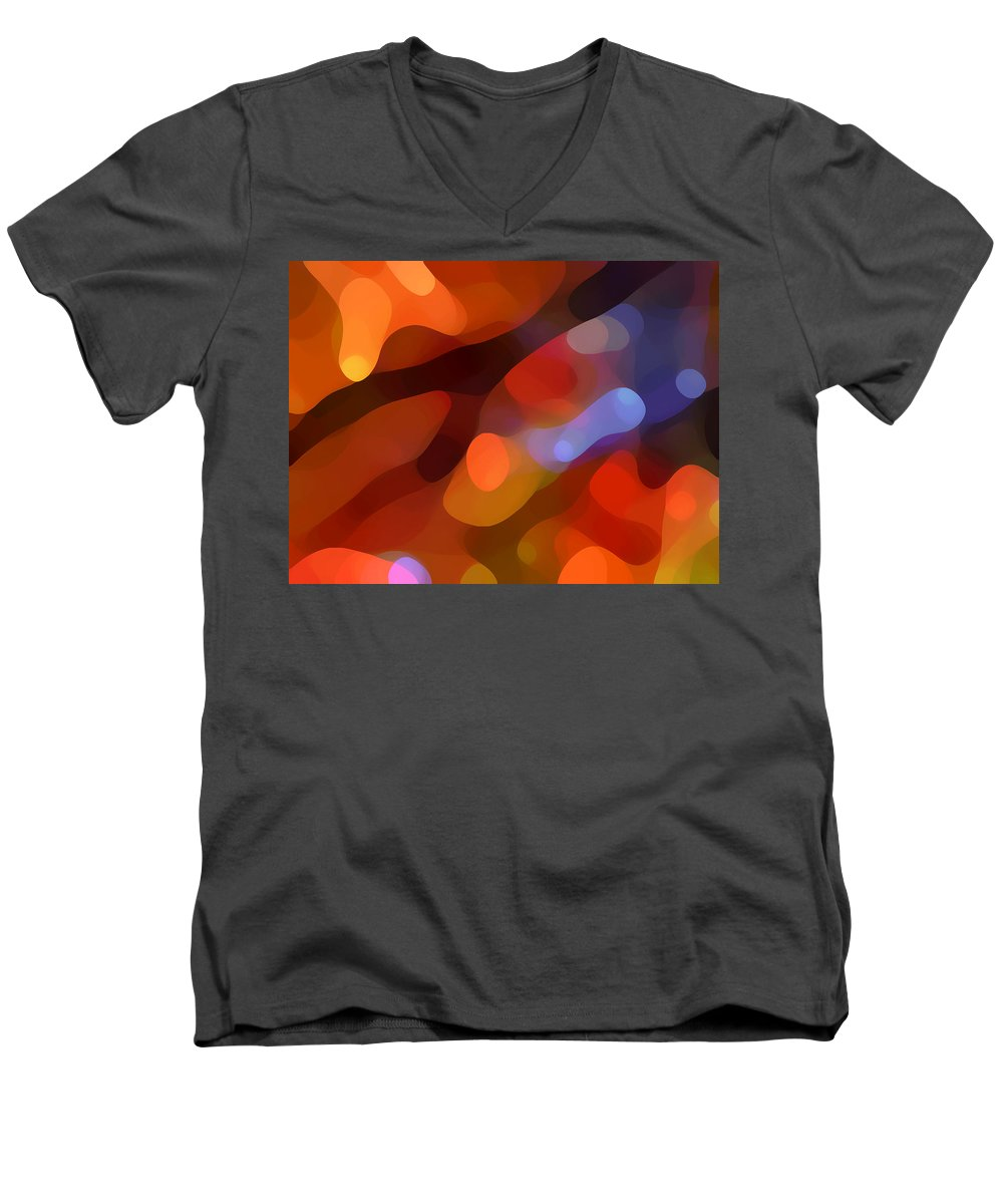 Abstract Art Men's V-Neck T-Shirt featuring the painting Abstract Fall Light by Amy Vangsgard