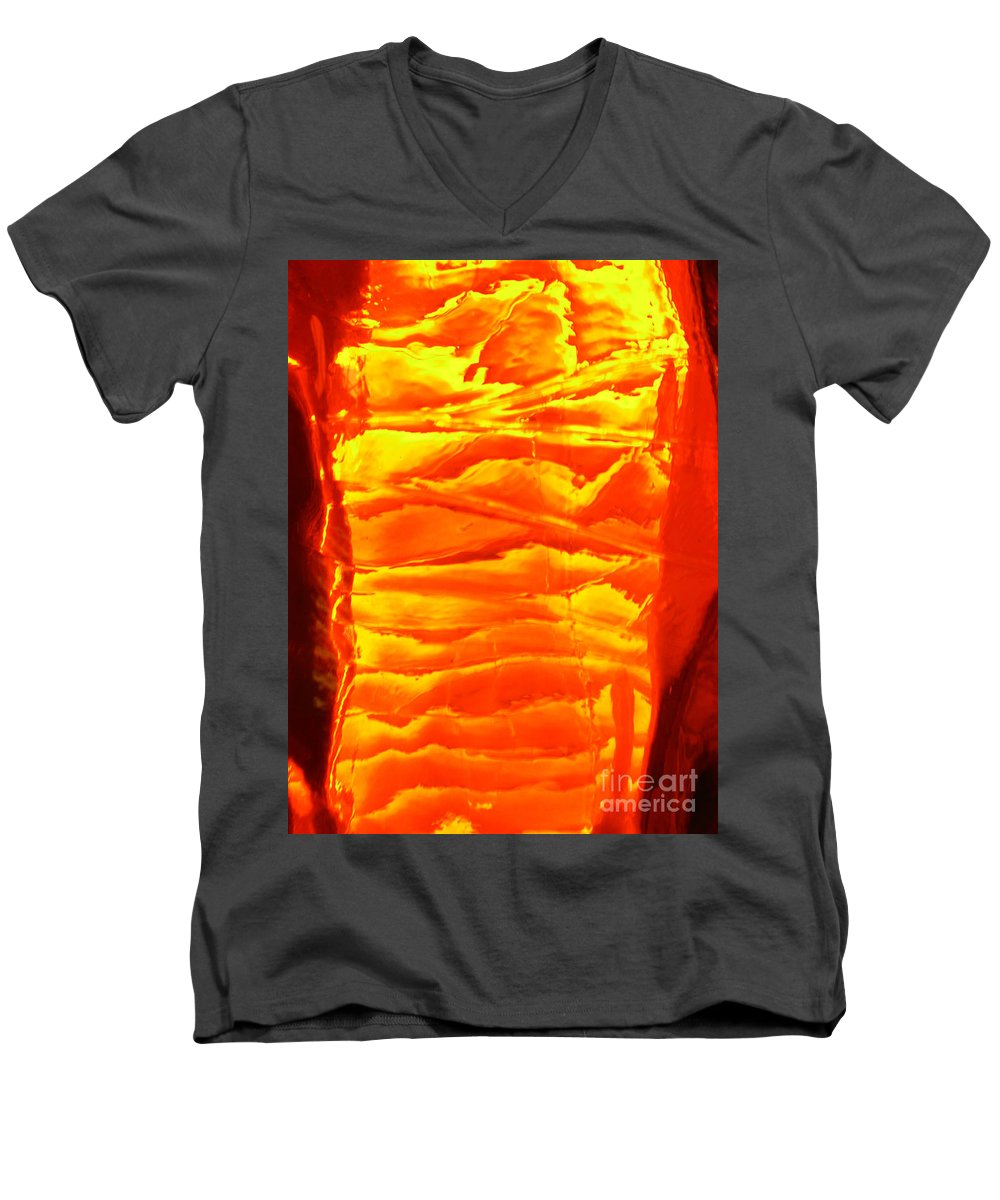 Orange Men's V-Neck T-Shirt featuring the photograph Abstract Orange by Amanda Barcon