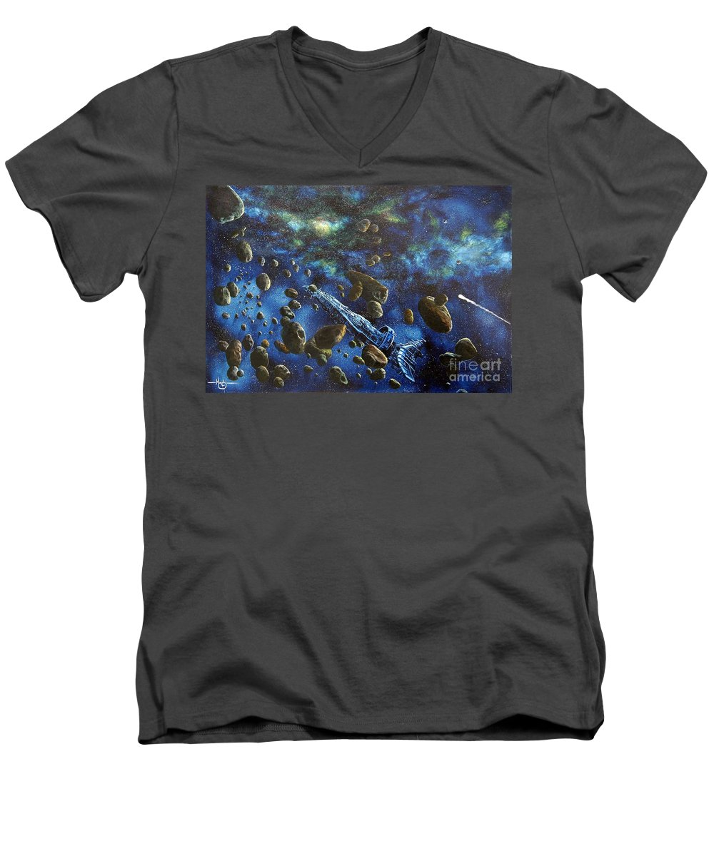 Astro Men's V-Neck T-Shirt featuring the painting Accidental Asteroid by Murphy Elliott