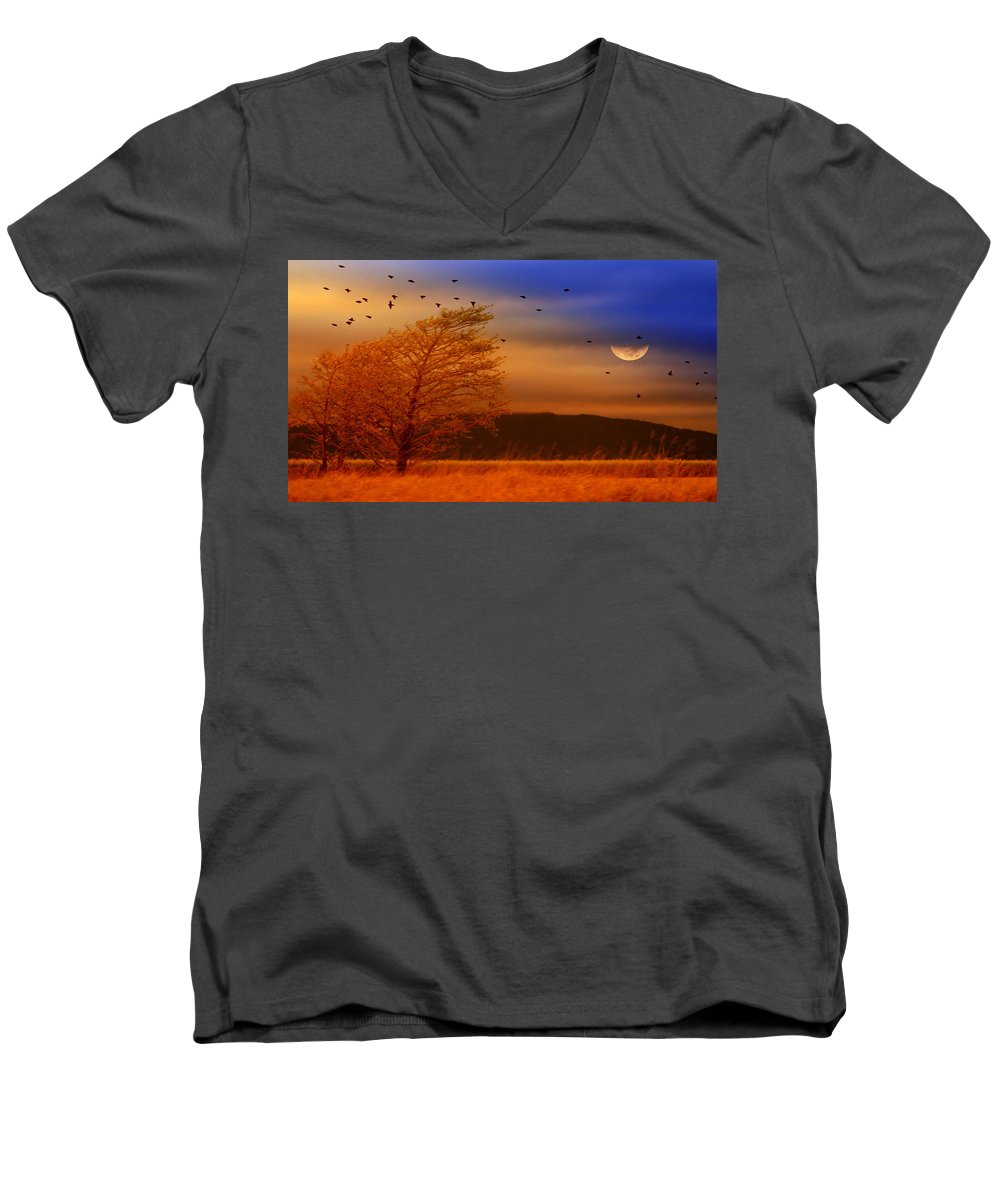 Landscape Men's V-Neck T-Shirt featuring the photograph Against The Wind by Holly Kempe