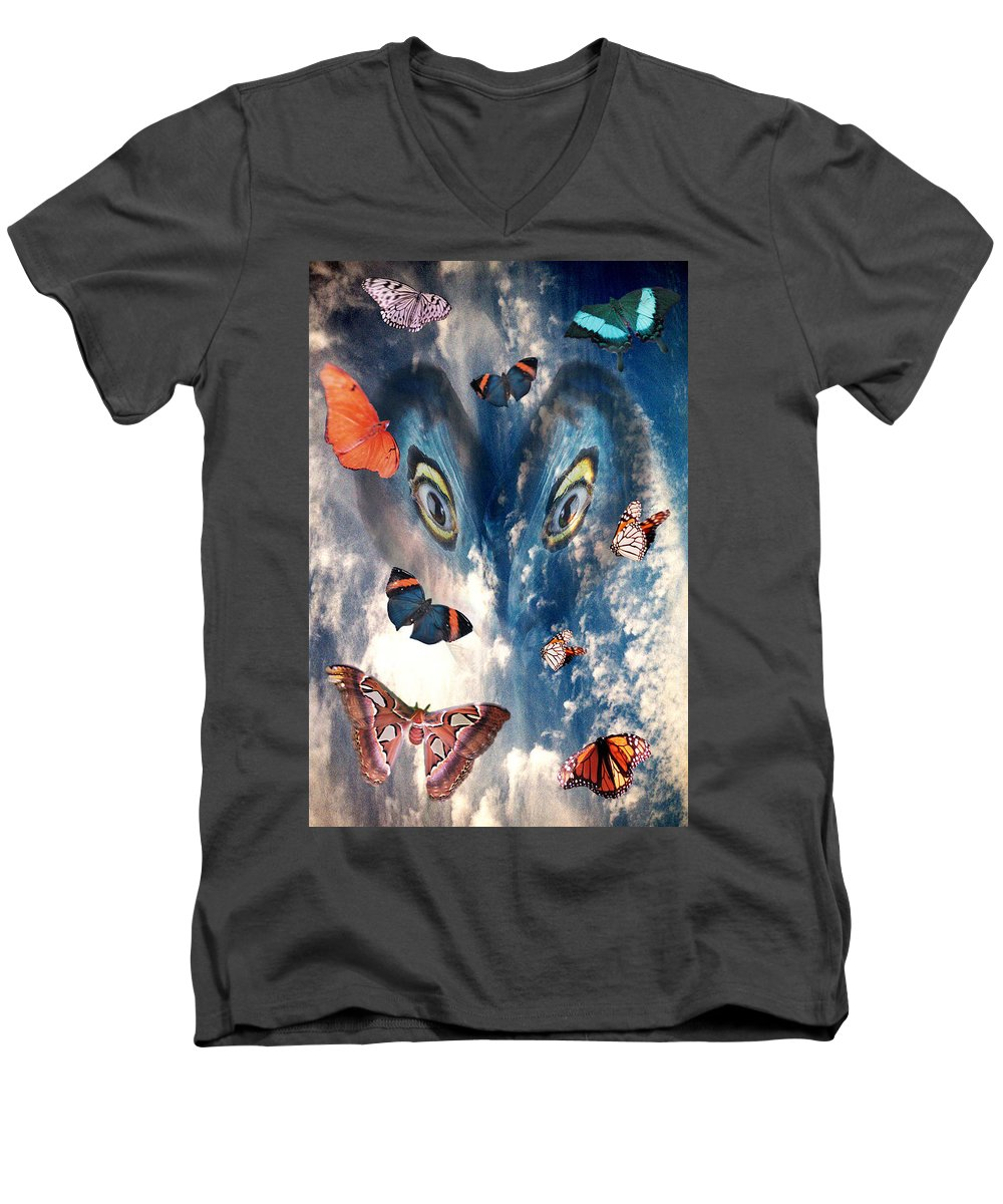 Air Men's V-Neck T-Shirt featuring the digital art Air by Lisa Yount