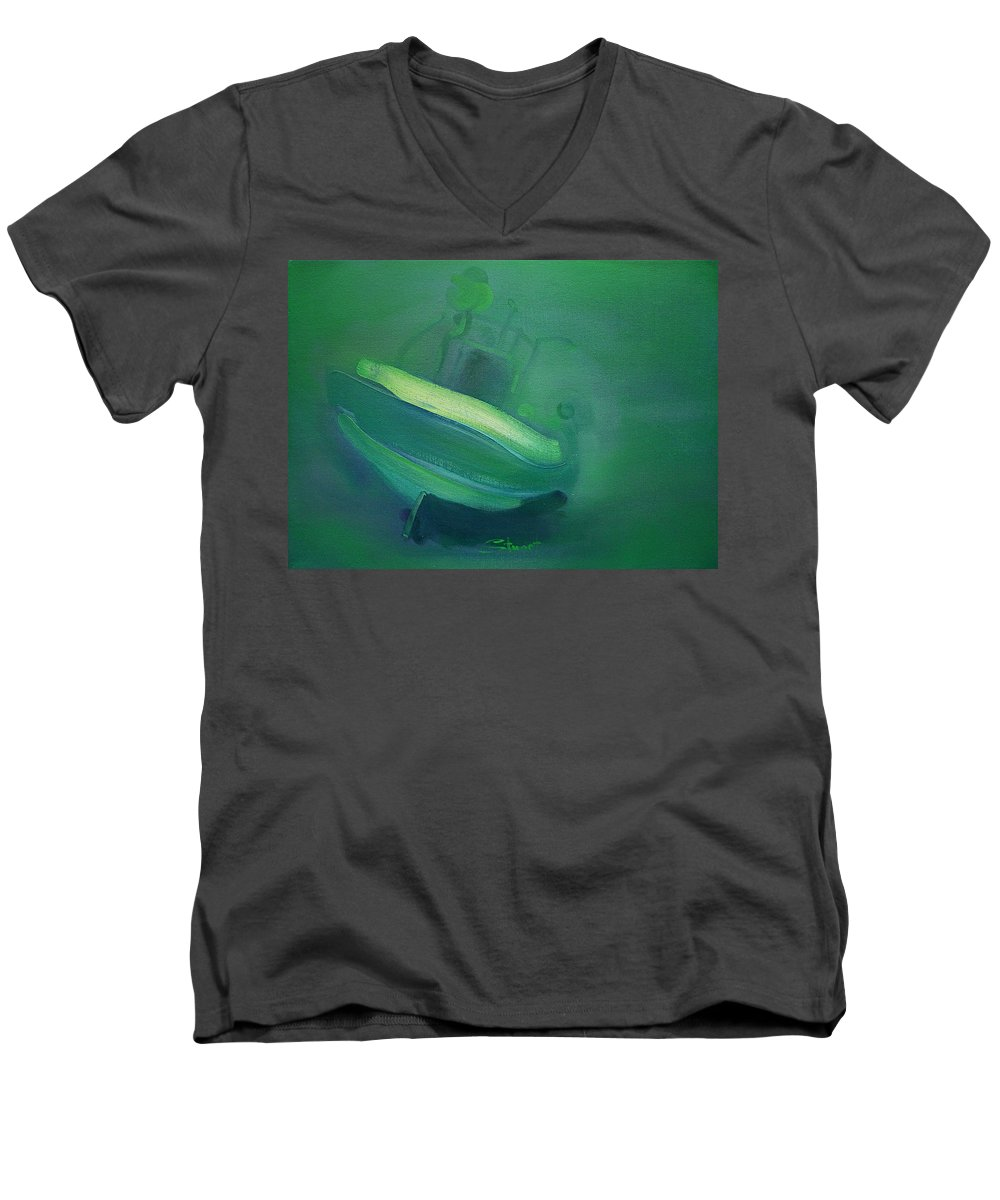 Fishing Boat Men's V-Neck T-Shirt featuring the painting Alvor Working Boat by Charles Stuart