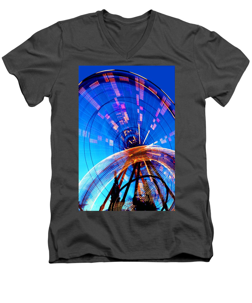 Amusement Park Men's V-Neck T-Shirt featuring the photograph Amusement Park Rides 1 by Steve Ohlsen