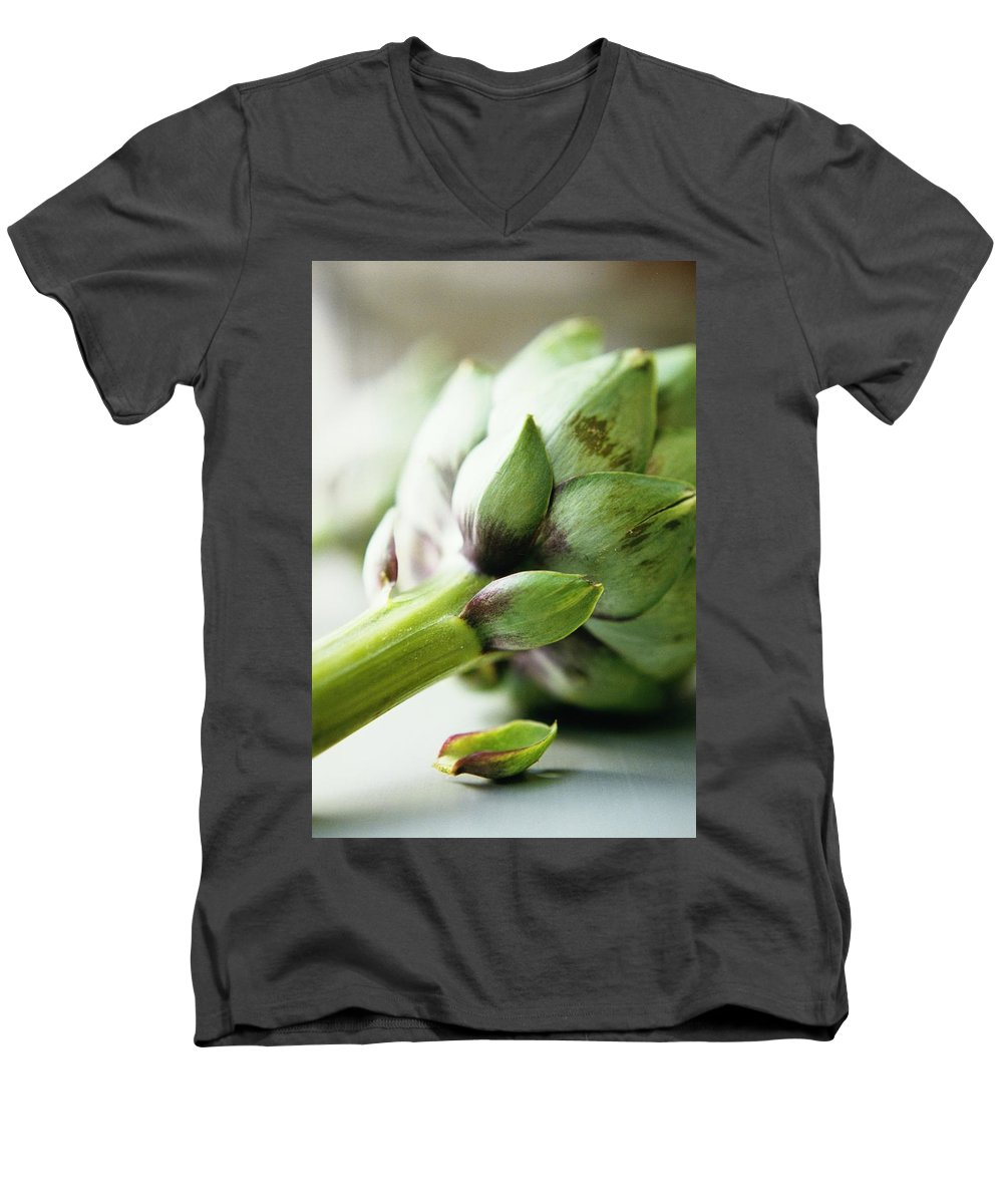 Fruits Men's V-Neck T-Shirt featuring the photograph An Artichoke by Romulo Yanes