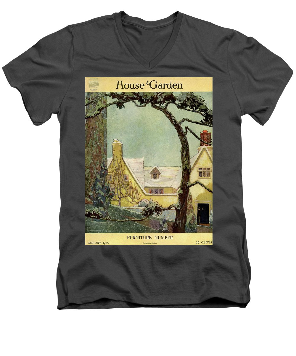 House And Garden Men's V-Neck T-Shirt featuring the photograph An English Country House by Porter Woodruff