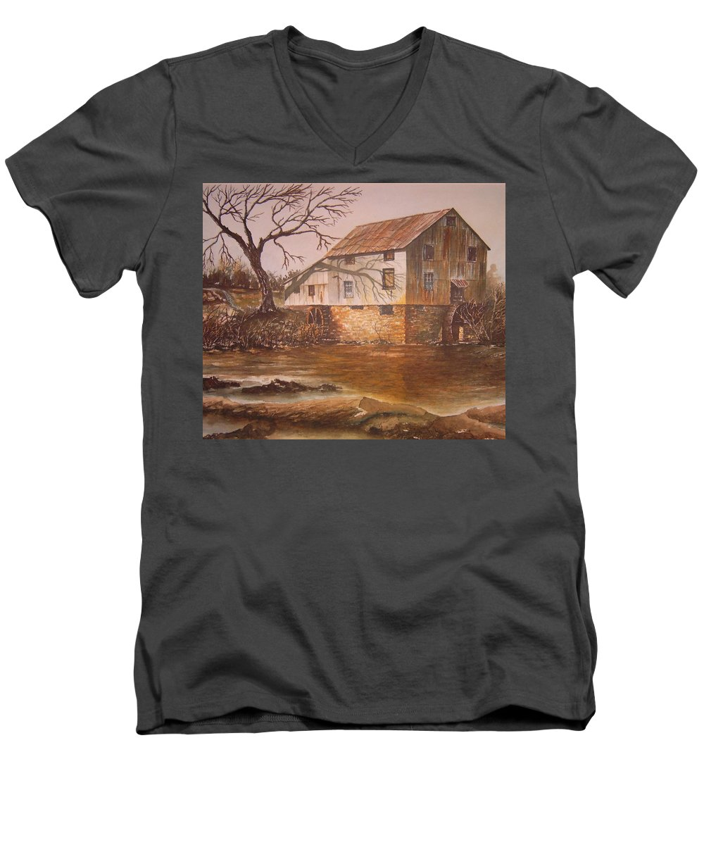 Landscape Men's V-Neck T-Shirt featuring the painting Anderson Mill by Ben Kiger