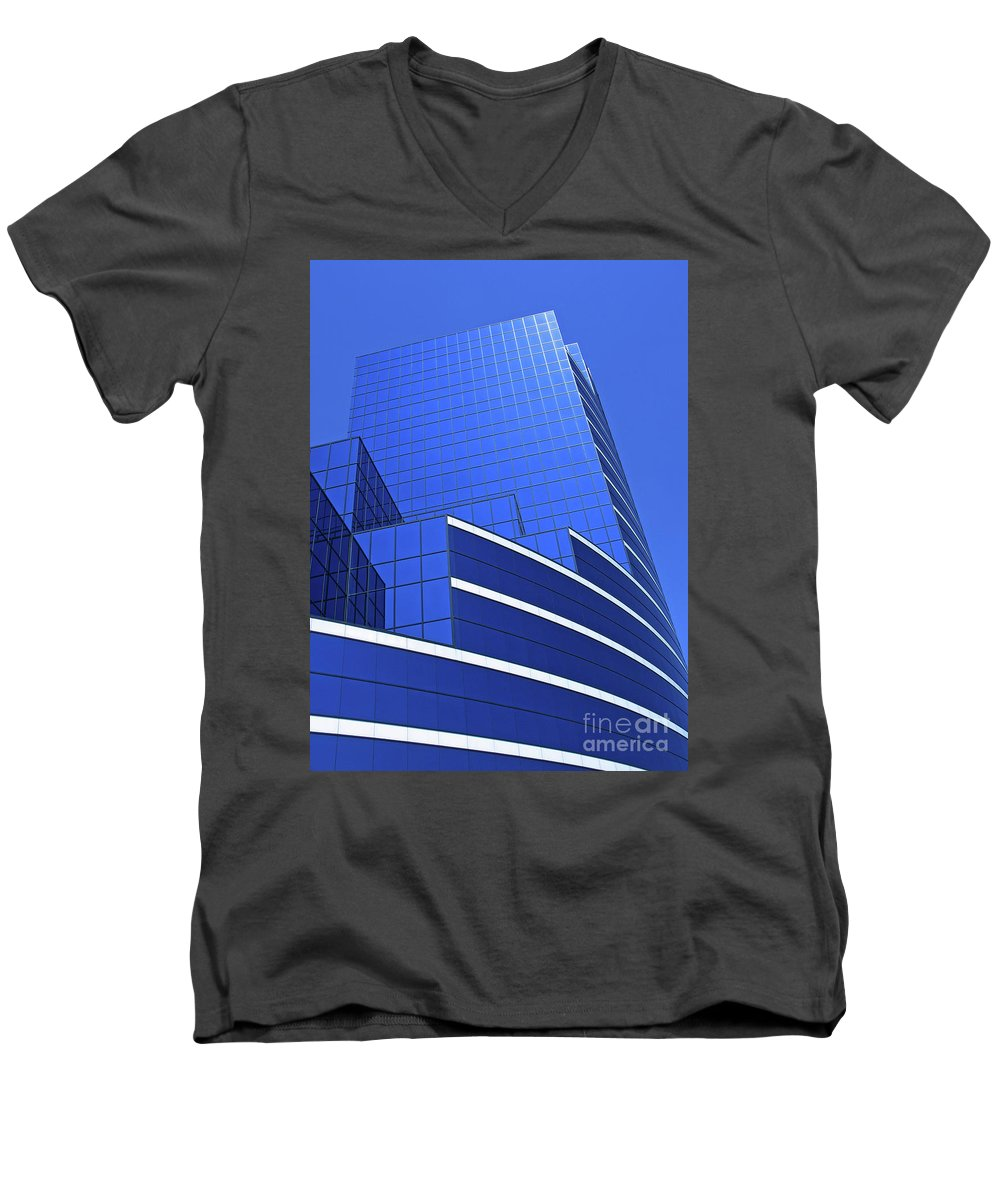 Architecture Men's V-Neck T-Shirt featuring the photograph Architectural Blues by Ann Horn