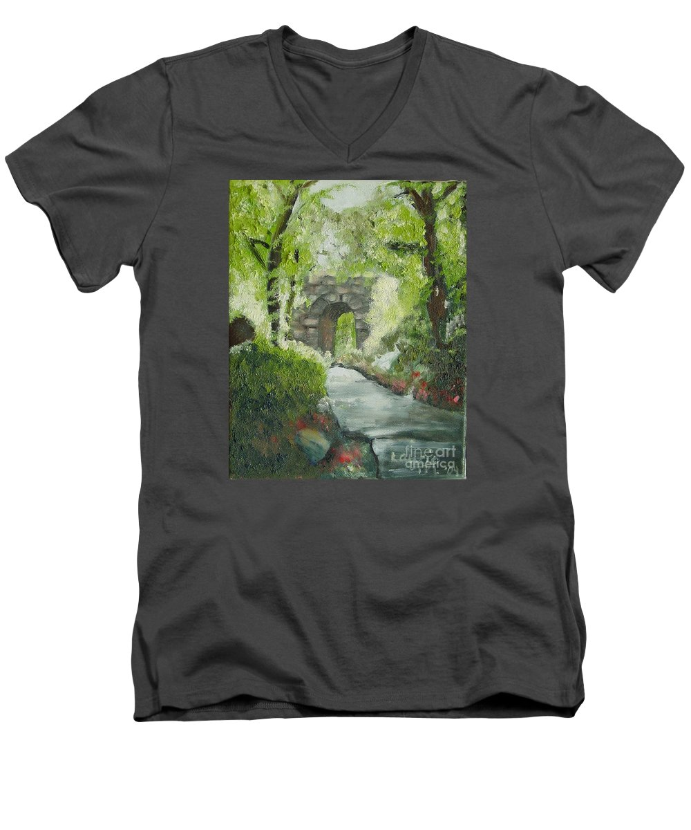 New York Men's V-Neck T-Shirt featuring the painting Archway In Central Park by Laurie Morgan