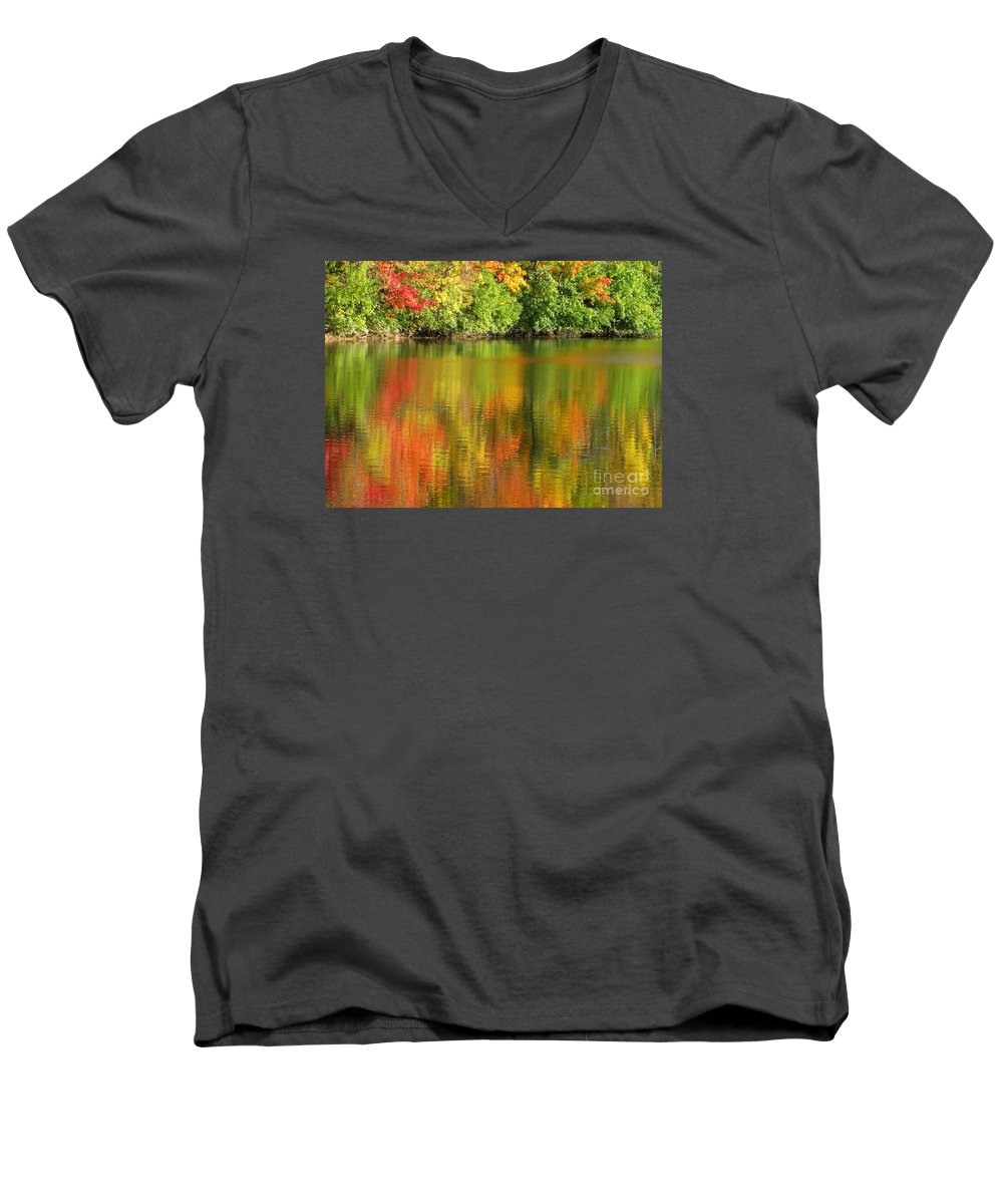 Autumn Men's V-Neck T-Shirt featuring the photograph Autumn Brilliance by Ann Horn