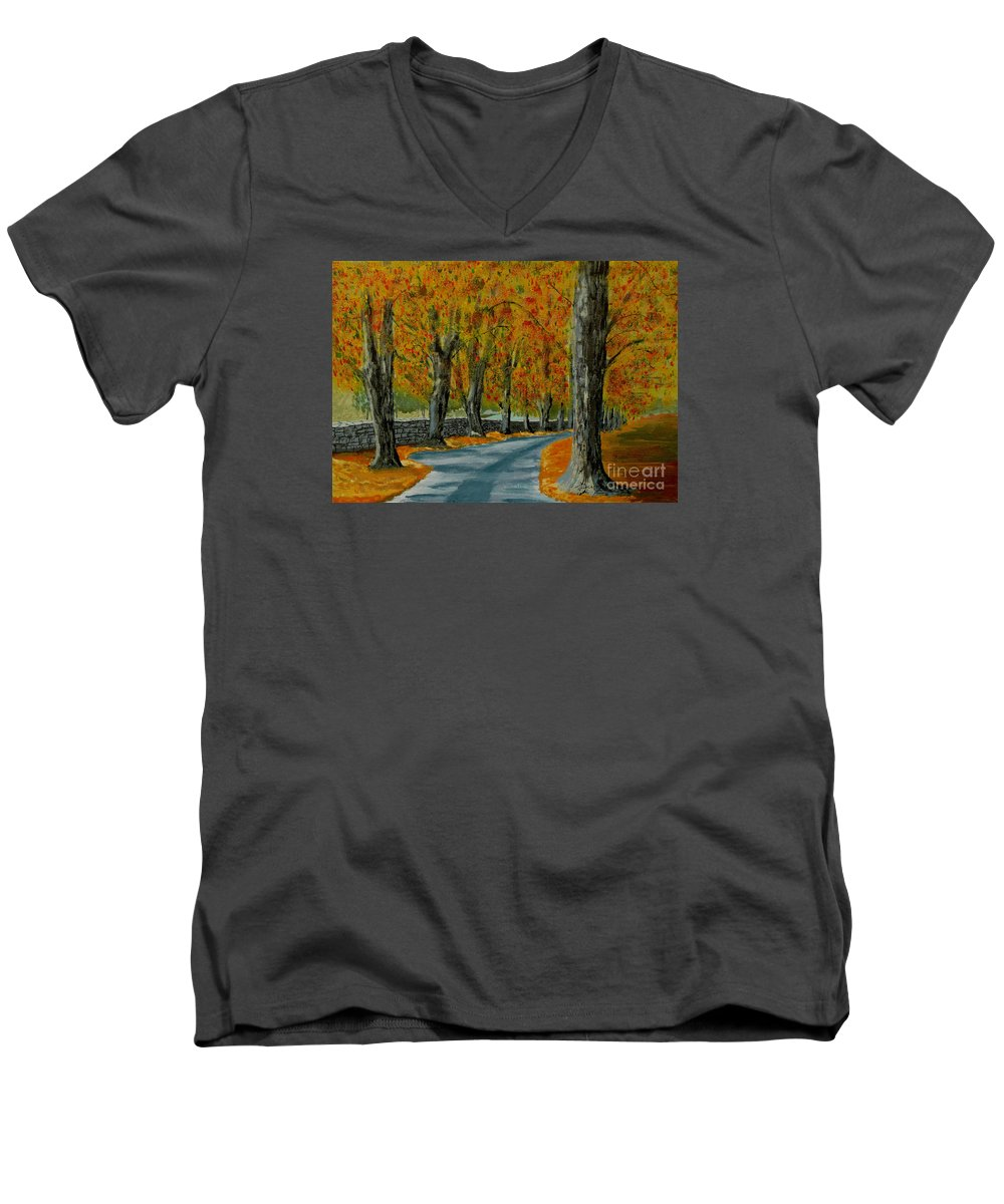Autumn Men's V-Neck T-Shirt featuring the painting Autumn Pathway by Anthony Dunphy