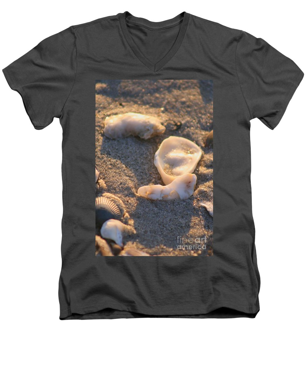 Shells Men's V-Neck T-Shirt featuring the photograph Bald Head Island Shells by Nadine Rippelmeyer