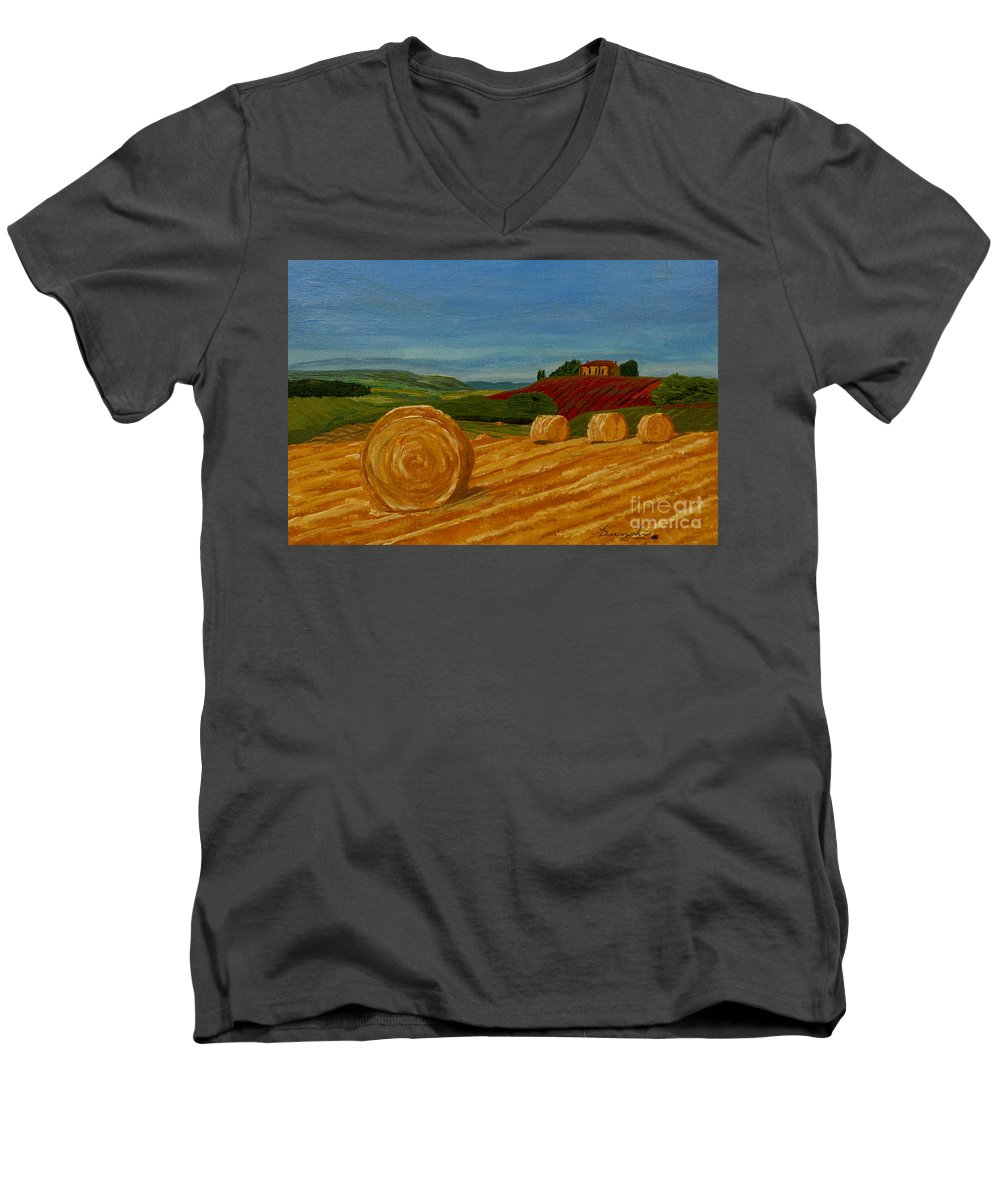 Hay Men's V-Neck T-Shirt featuring the painting Field Of Golden Hay by Anthony Dunphy