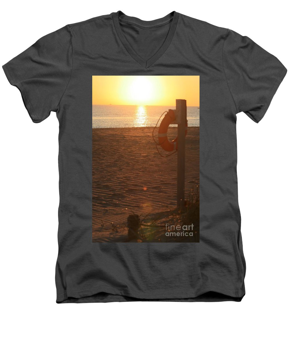 Beach Men's V-Neck T-Shirt featuring the photograph Beach At Sunset by Nadine Rippelmeyer