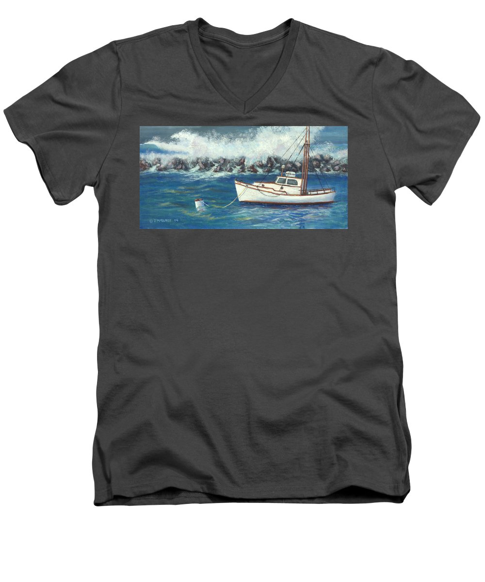 Ocean Men's V-Neck T-Shirt featuring the painting Behind The Breakwall by Jerry McElroy