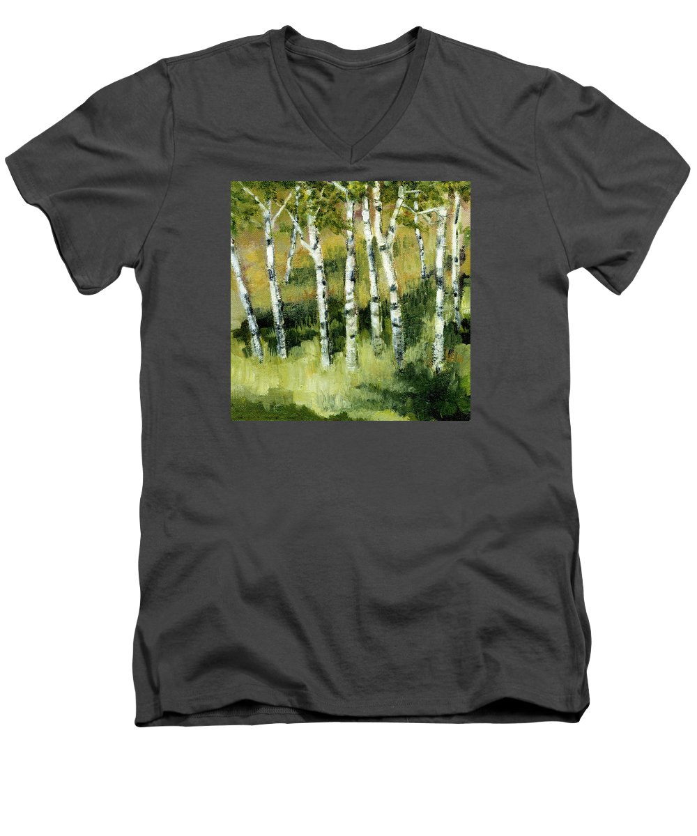 Trees Men's V-Neck T-Shirt featuring the painting Birches On A Hill by Michelle Calkins