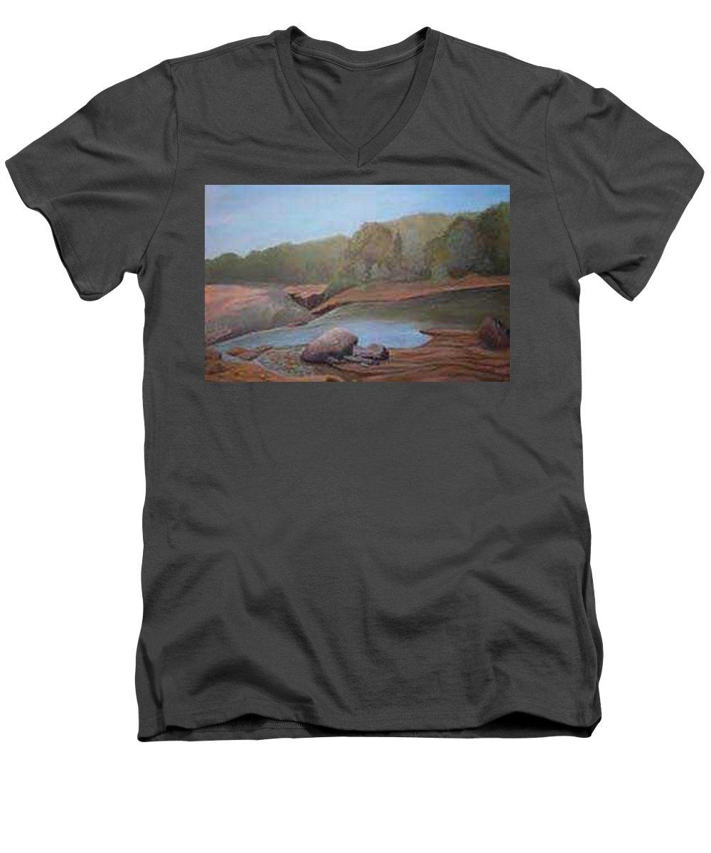 Rick Huotari Men's V-Neck T-Shirt featuring the painting Black River Falls by Rick Huotari