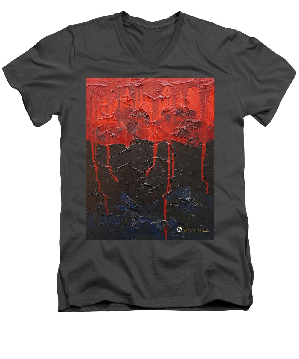 Fantasy Men's V-Neck T-Shirt featuring the painting Bleeding Sky by Sergey Bezhinets