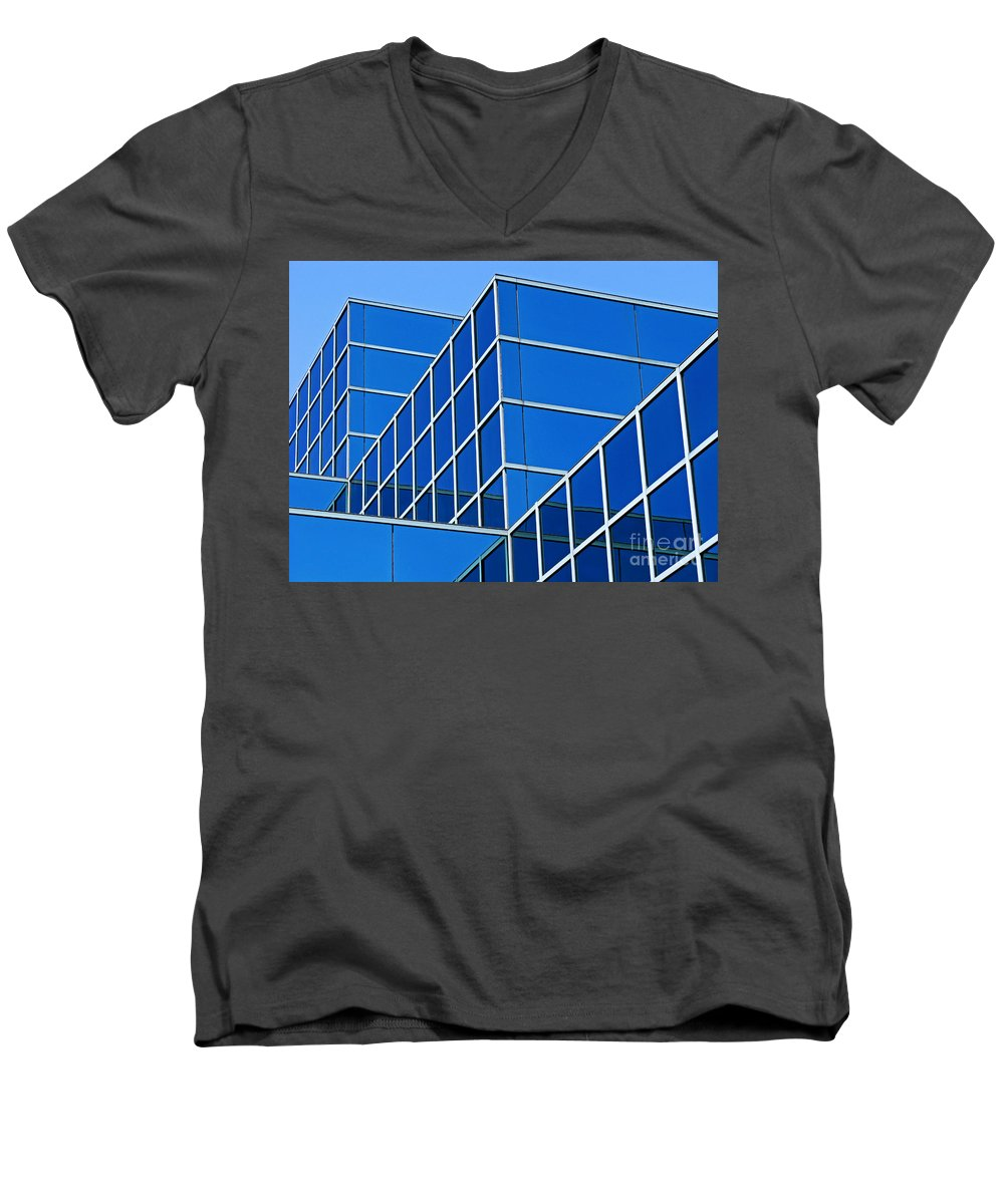 Building Men's V-Neck T-Shirt featuring the photograph Boldly Blue by Ann Horn