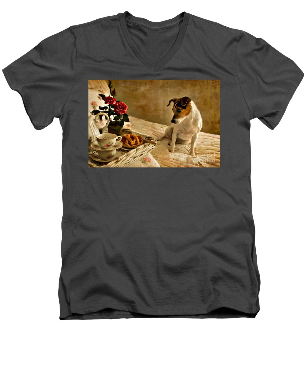 Men's V-Neck T-Shirt featuring the photograph Bon Appetit by Jean Hildebrant